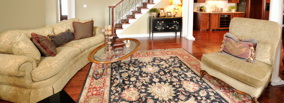 Oriental carpet in living room at Chester property